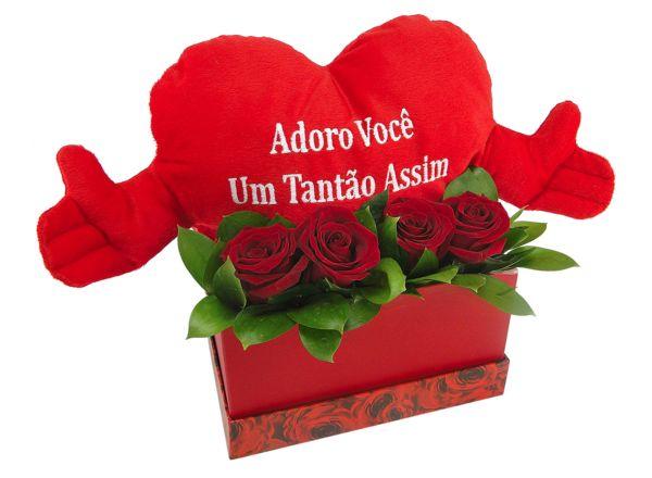 Flores Romance Caixa Coração Frases Floricultura Muriel